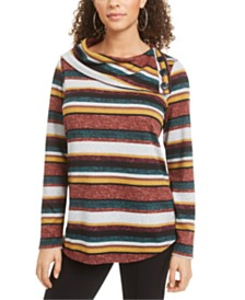 BCX Juniors' Striped Split-Cowl Sweater