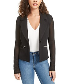 Juniors' Zipper-Trimmed Illusion Blazer, Created for Macy's