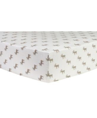 Moose Print Flannel Crib Sheet