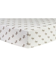 Moose Print Flannel Crib Sheet