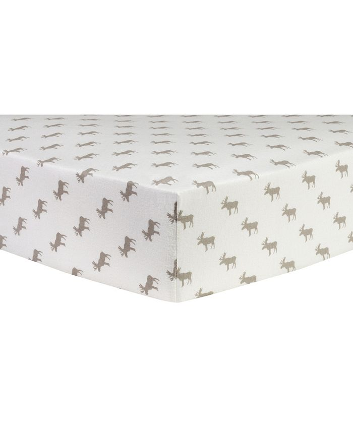 Trend Lab - Gray Moose Silhouettes Deluxe Flannel Fitted Crib Sheet