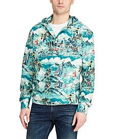 Men's Tropical-Print Hooded Shirt