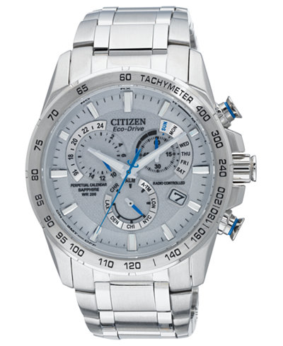 Citizen Men's Eco-Drive Perpetual Chrono A-T Stainless Steel Bracelet Watch 42mm AT4000-53B – A  Exclusive