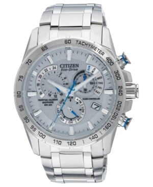 Citizen Men's Eco-Drive Perpetual Chrono A-t Stainless Steel Bracelet Watch 42mm AT4000-53B - A Macy's Exclusive