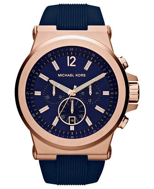 13331cae6c5c ... Michael Kors Men s Chronograph Dylan Navy Silicone Strap Watch 48mm  MK8295 ...