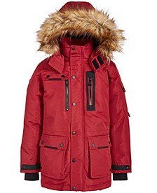 Big Boys Cargo-Pocket Parka With Faux-Fur Trim