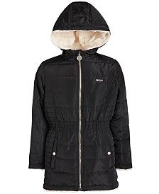 DKNY Big Girls Reversible Faux-Fur Anorak