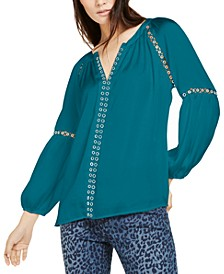 INC Grommet-Trim Peasant Blouse, Created for Macy's