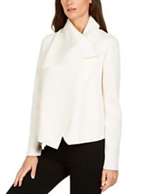 Anne Klein Asymmetric Draped-Collar Jacket