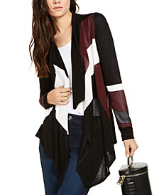 INC Colorblocked Waterfall Cardigan, Created for Macy's