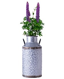 Rustic Farmhouse Style Galvanized Metal Milk can Decoration Planter and Vase, Large
