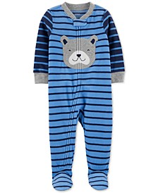 Baby Boys 1-Pc. Footed Fleece Striped Puppy Pajama