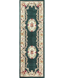 "CLOSEOUT!  Palace Garden Aubusson Dark Green 2'6"" x 8' Runner Area Rug"