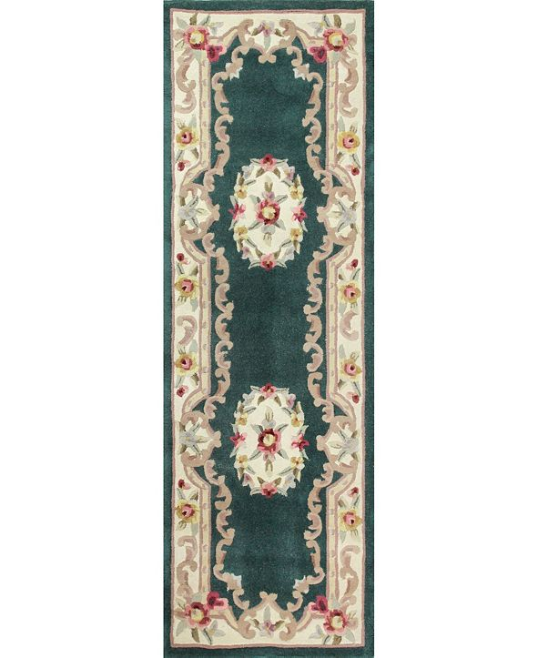 "KM Home CLOSEOUT!  Palace Garden Aubusson Dark Green 2'6"" x 8' Runner Area Rug"