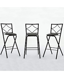 Boraam Glen Collection Folding Barstools, 3 Pack