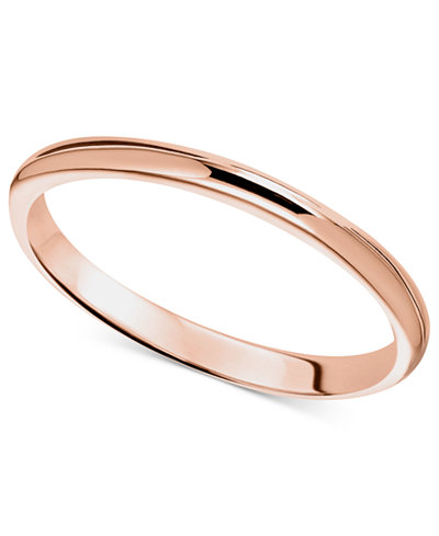 14k Rose Gold Ring 2mm Wedding Band