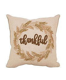 Embroidered Thanksgiving Throw Pillow