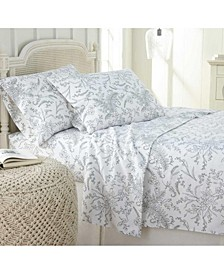 Winter Brush Floral Printed 4 Piece Sheet Set