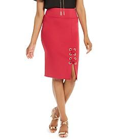 Thalia Sodi Grommet-Trim Scuba Skirt, Created for Macy's