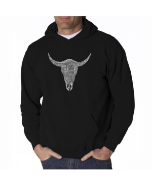 La Pop Art Men's Word Art Hooded Sweatshirt - Cowskull Country Hits