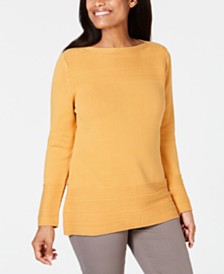 Karen Scott Cotton Boat-Neck Sweater, Created for Macy's