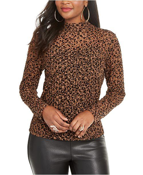 Thalia Sodi Leopard Print Lace Top, Created for Macy's