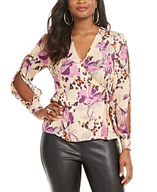 Printed Slit-Sleeve Faux-Wrap Top, Created for Macy's