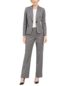 One-Button Pinstriped Pantsuit