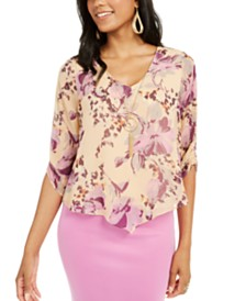 Thalia Sodi Layered Ruched-Sleeve Necklace Top, Created for Macy's