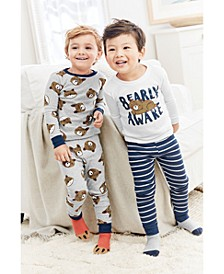 Toddler Boys 4-Pc. Cotton Bearly Awake Pajamas Set