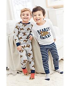 Toddler Boys 4-Pc. Cotton Bearly Awake Pajamas Set