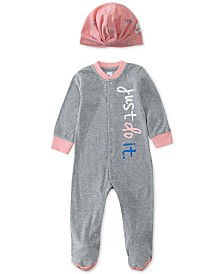 Nike 2-Pc. Baby Girls Logo Snap Coveralls & Twist-Front Hat Set