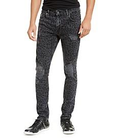 Men's Ripped Leopard Skinny Jeans