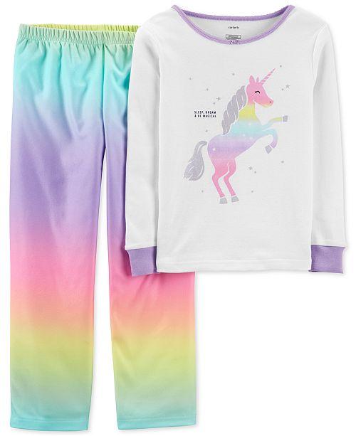 Carter's Little & Big Girls 2-Pc. Rainbow Unicorn Pajamas Set