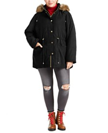 Celebrity Pink Juniors' Plus Size Faux-Fur Trim Hooded Parka Coat