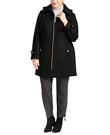 Plus Size Hooded Stand-Collar Coat, Created for Macy's