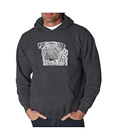 Men's Word Art Hooded Sweatshirt - Pug Face