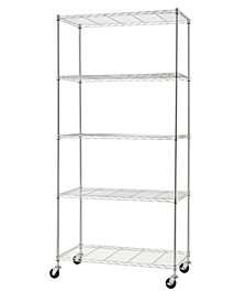 Basics Ecostorage 5-Tier Wire Shelving Rack with NSF Includes Wheels
