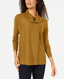 JM Collection Faux-Wrap Cowl-Neck Sweater, Created for Macy's
