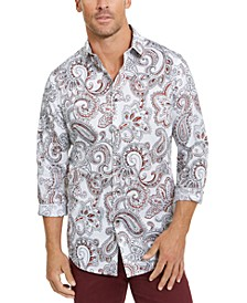 Men's Stretch Paisley Woven Shirt, Created for Macy's