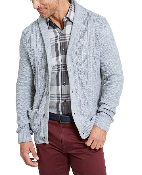 Tasso Elba Men's Chunky Shawl Cardigan Sweater, Created For Macy's