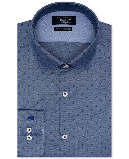 Original Penguin Men's Heritage Slim-Fit Performance Stretch Diamond Dobby Dress Shirt