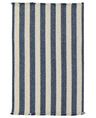 Area Rug, Hampton Flatweave 0404-460 Denim Stripe 8' x 11'