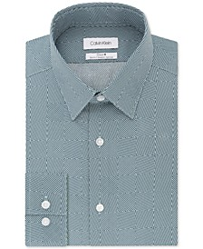 Men's STEEL Slim-Fit Non-Iron Performance Stretch Print Dress Shirt