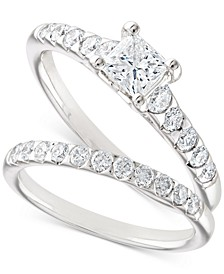 Certified Diamond Princess Bridal Set (1-1/10 ct. t.w.) in 18k White Gold