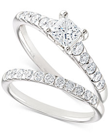 X3 Certified Diamond Princess Bridal Set (1-1/10 ct. t.w.) in 18k White Gold