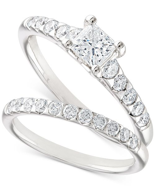 X3 Certified Diamond Princess Bridal Set (1-1/10 ct. t.w.) in 18k White Gold