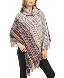 Brushed Marled-Stripe Diamond-Shape Poncho
