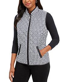 Karen Scott Houndstooth Puffer Vest, Created For Macy's