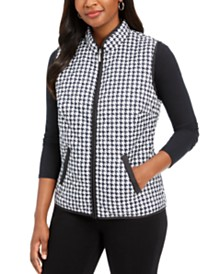 Karen Scott Houndstooth Puffer Vest, Created For Macy's